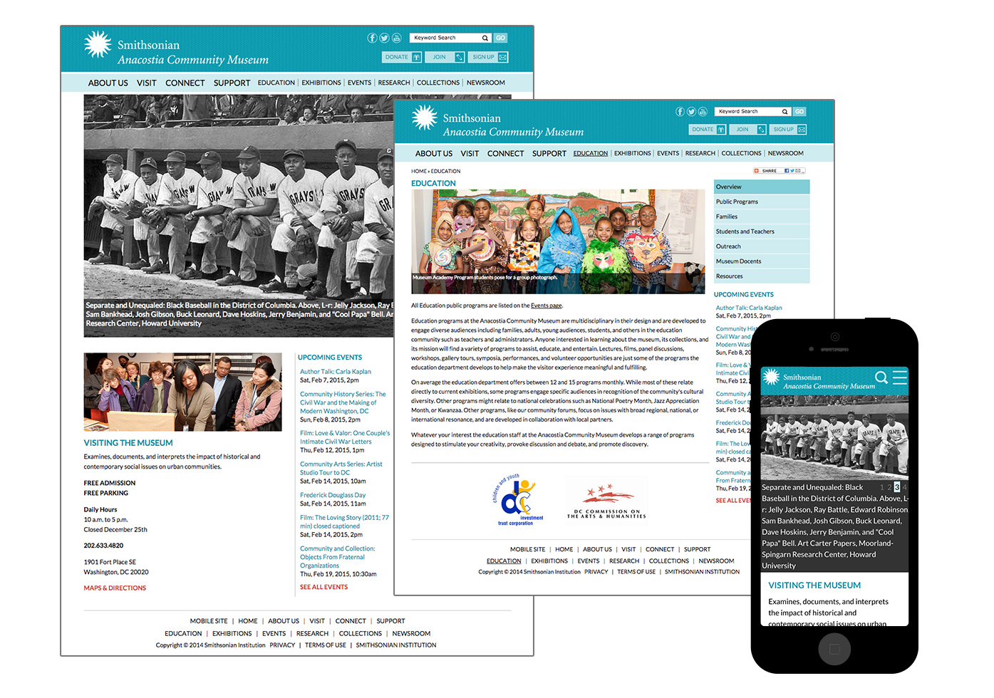 Anacostia screenshots of homepage, education page, mobile.
