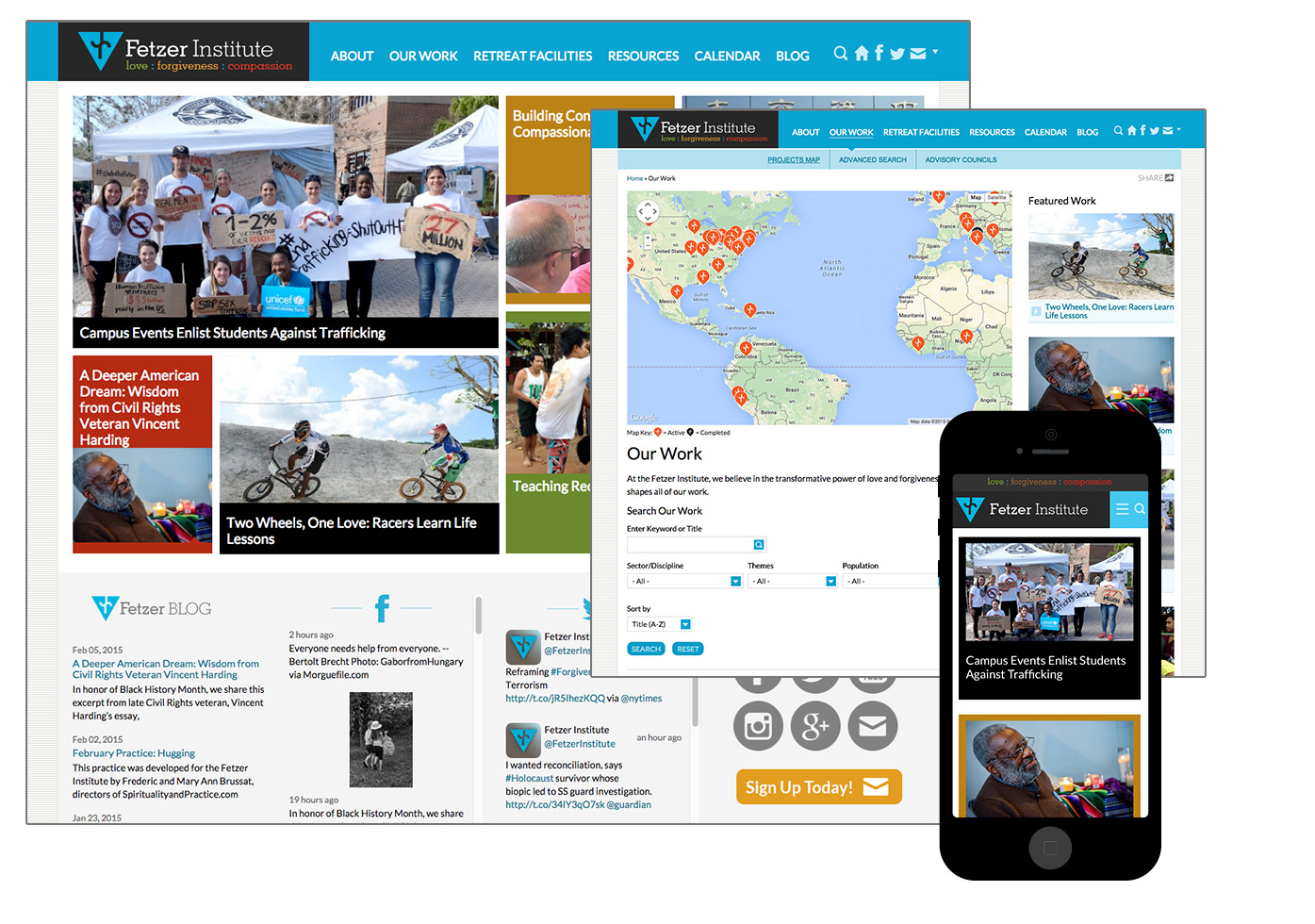 Fetzer.org screenshots of homepage, project map, mobile.