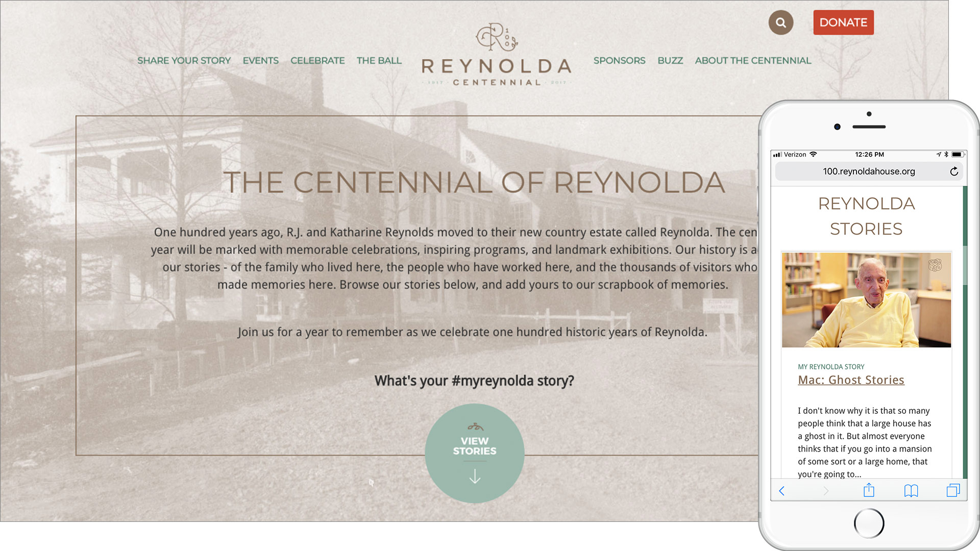 Reynolda House Centennial Site with mobile