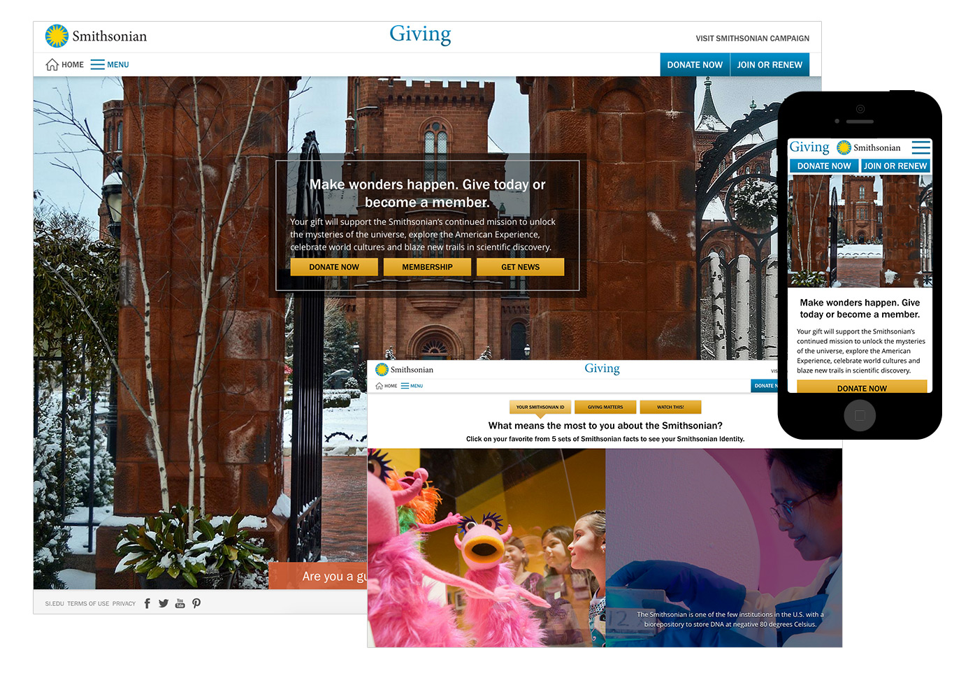 Si Giving screenshots of homepage, Smithsonian ID quiz, mobile.
