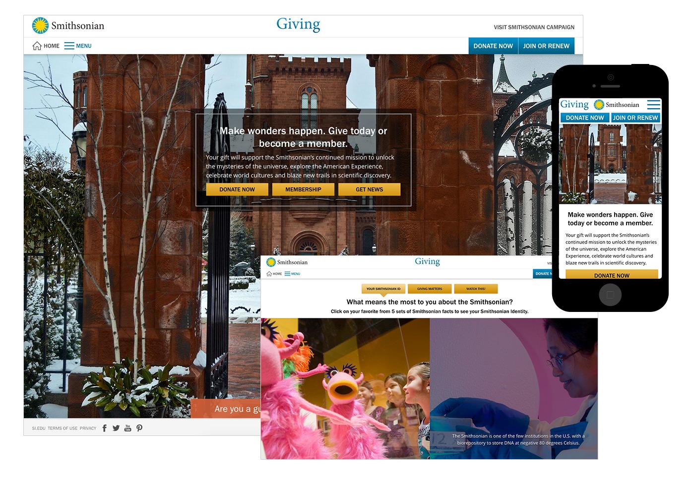 Si Giving screenshots of homepage, Smithsonian ID quiz, mobile.